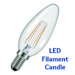 LED Filament Candle Bulb SBC, BC, SES, ES