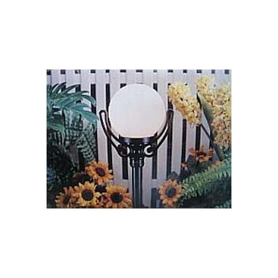 Opal globe garden light on small post coloured black