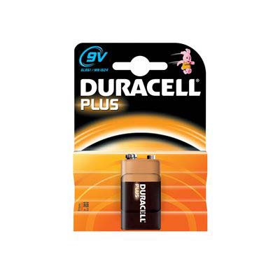 A Duracell plus 9V MN1604 battery on a display card
