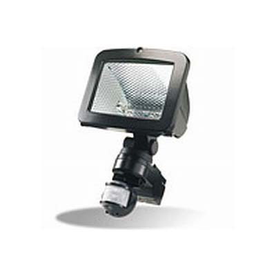 Enclosed tungsten halogen flood light with motion sensor in black