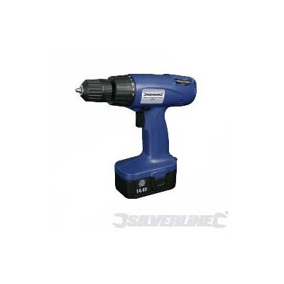 Silverline cordless portable drill with 10mm keyless chuck in blue