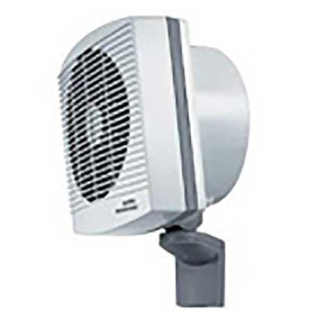 Redring 3kW workshop fan heater mounted on adjustable wall bracket in two tone grey