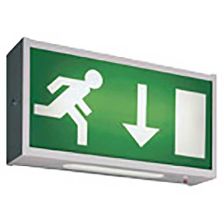 Ansell rectangular wall mounted emergency exit light with running man legend panel
