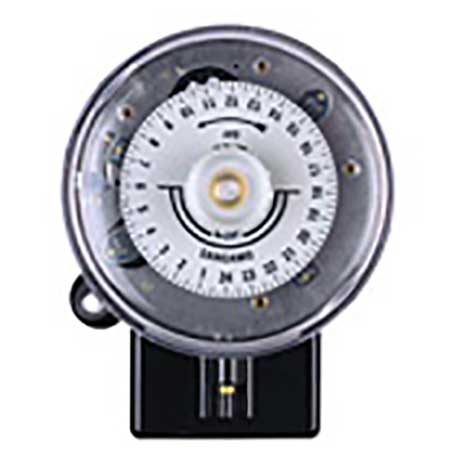 Sangamo round pattern electro mechanical time switch with 24 hour dial and transparent cover