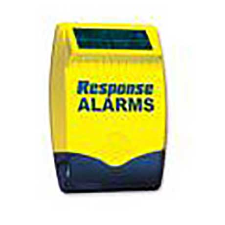 Response outdoor burglar alarm siren box with flashing neon light and solar panel in yellow