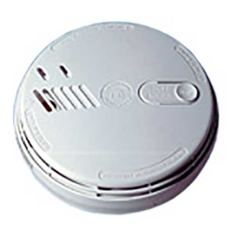 Aico circular ionisation mains powered smoke alarm with hush button and alkaline battery back-up in white
