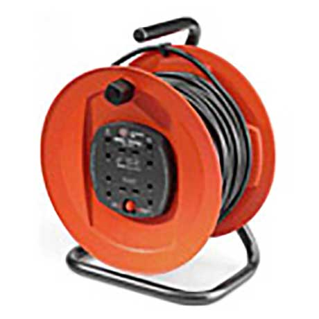 Jojo cable drum with four 13A outlets and 30 metre lead on a metal frame in red and black