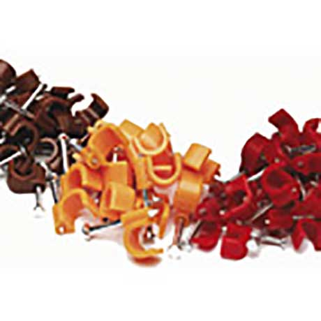 Scolmore round cable clips with nails in red, brown and orange