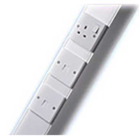 Marco aluminium power pole with 13A single socket and two telecom sockets in white