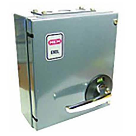 MEM Eaton metal clad TP&N switch fuse with chrome on-off handle and hinged door in grey