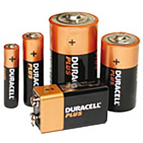 Durcell Plus batteries in five different sizes