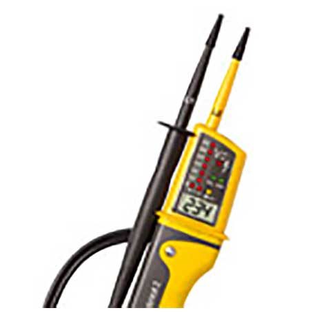 Di-Log hand held voltage and continuity tester with lead and probe plus digital display in yellow and grey