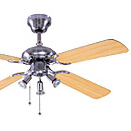 Global ceiling fan in chrome with three lights and four cane effect blades